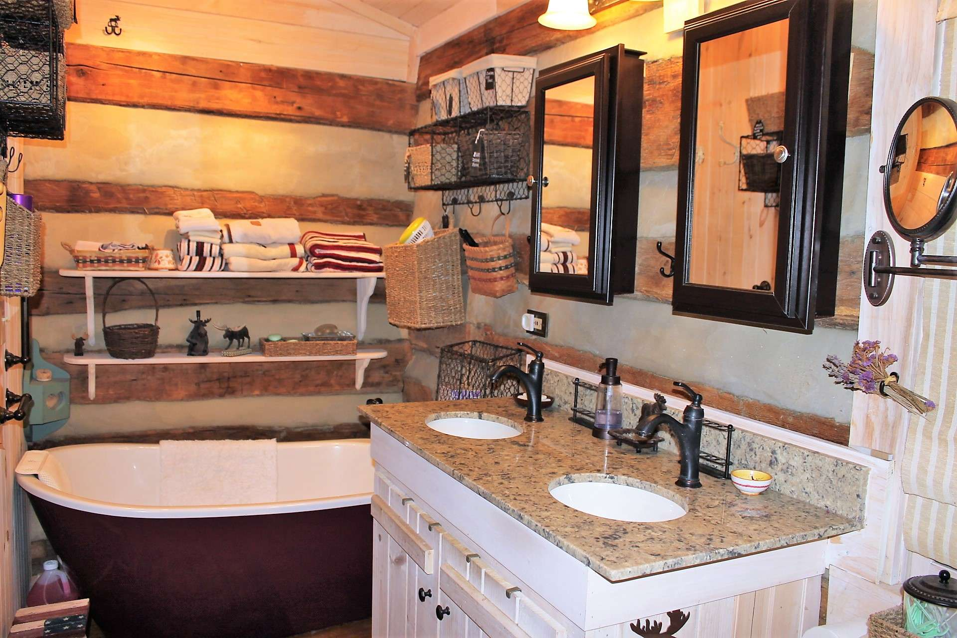 Master bath has dual sinks and a soaking tub to relax in after a day of hiking in the mountains.