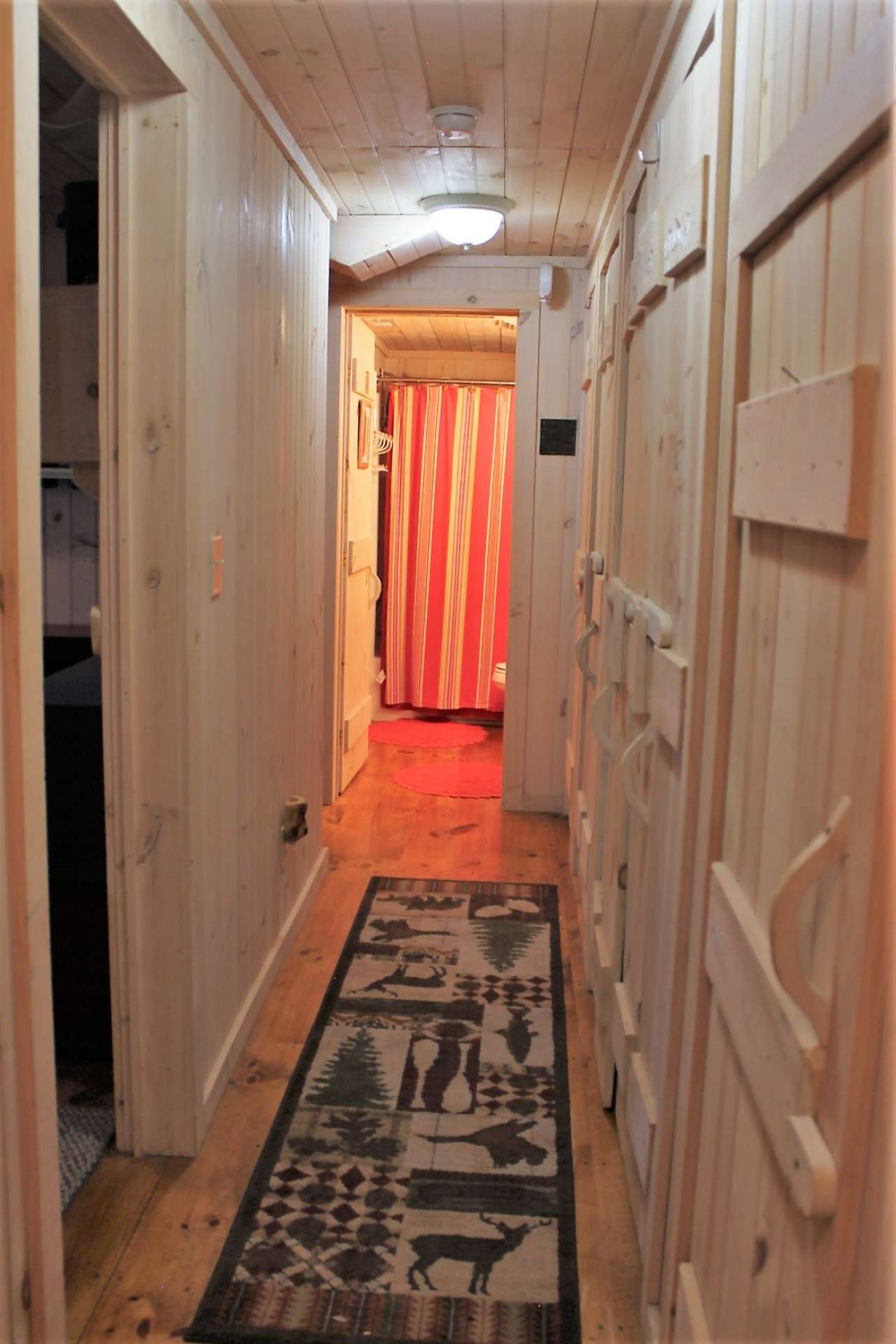 Lower level hallway has a wall of multiple closets providing abundant storage as well as a full size washer and dryer.