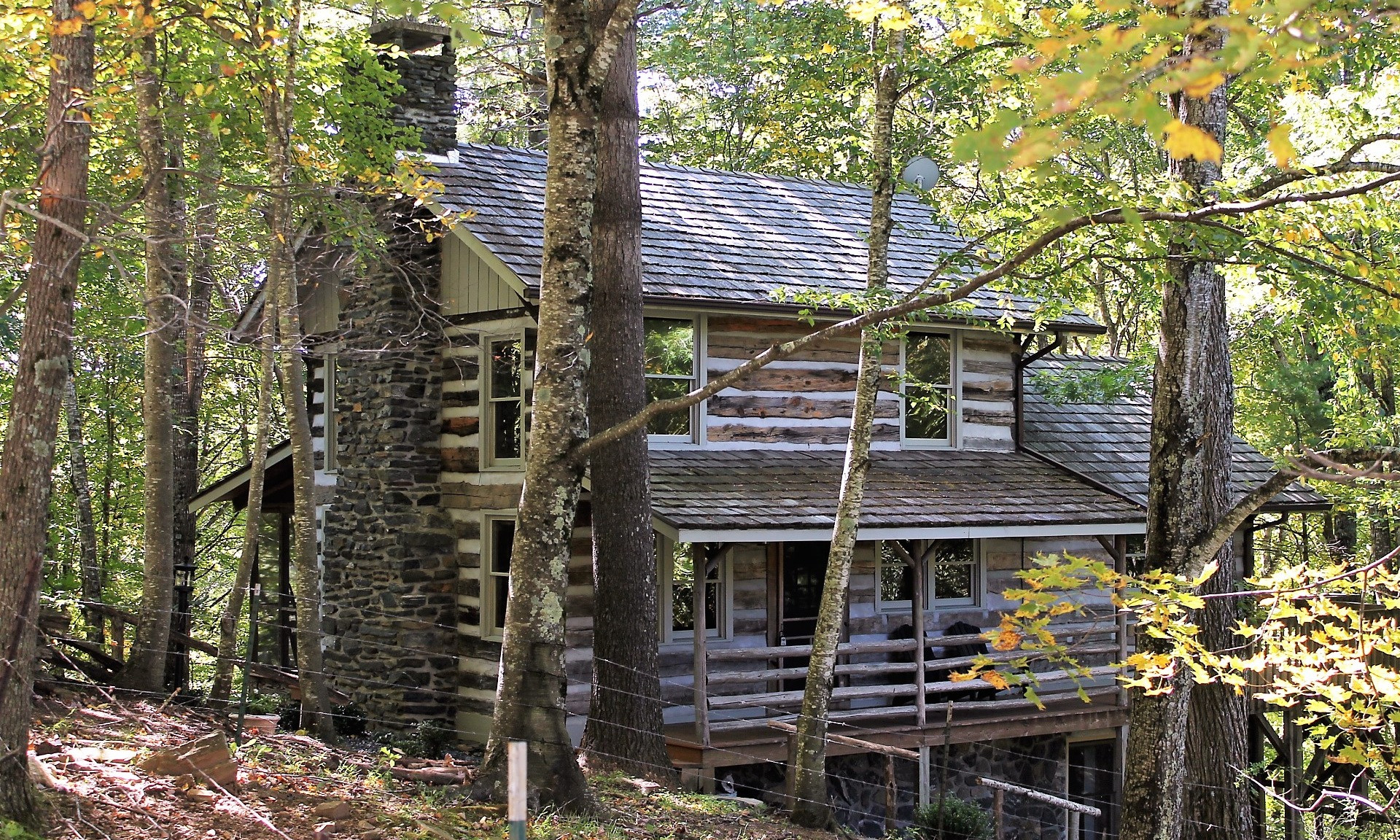 Antique Log Cabin Wooded Setting