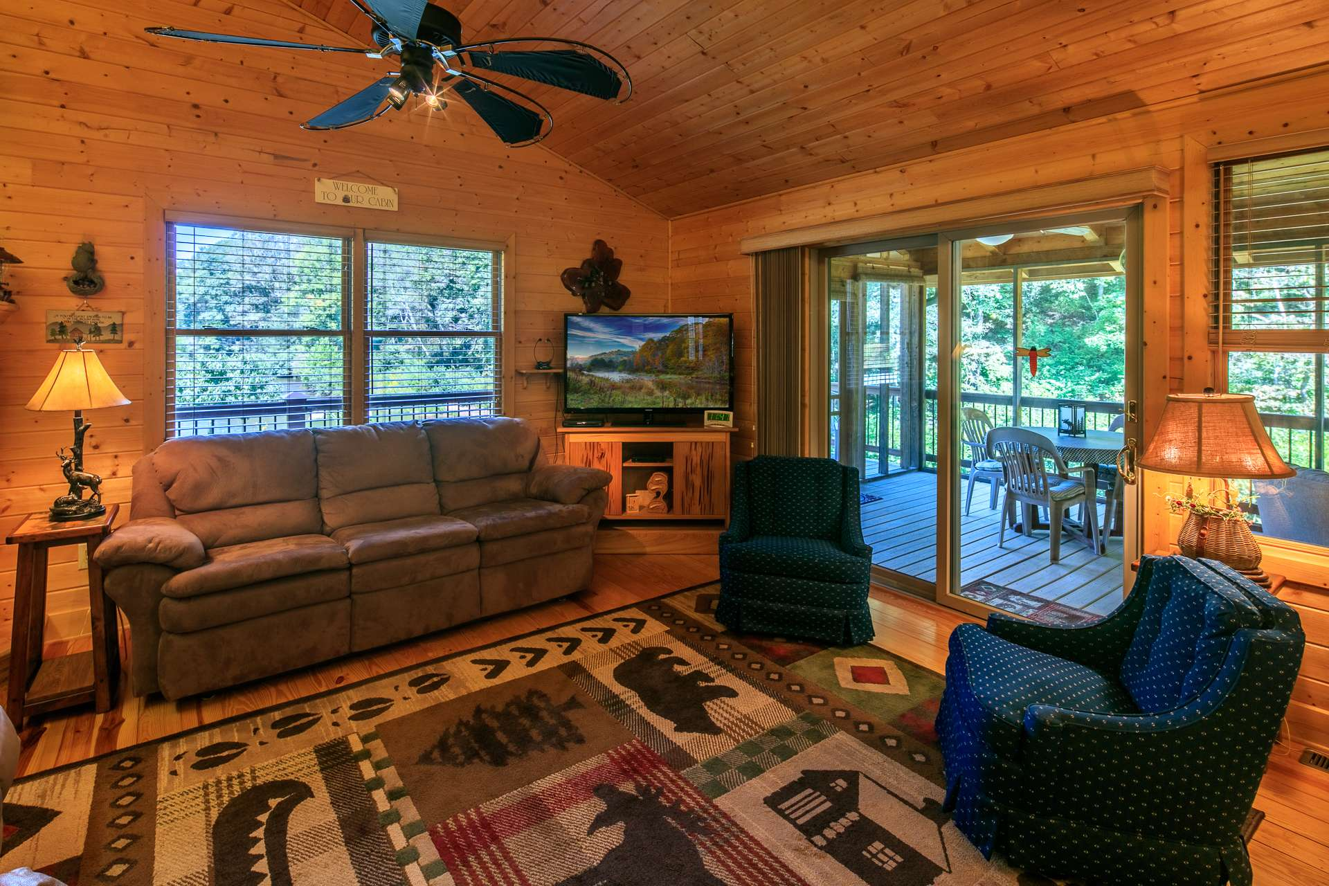 The cabin offers main level living with lots of windows for natural light and to bring the outdoors inside through all four seasons in the North Carolina high country.