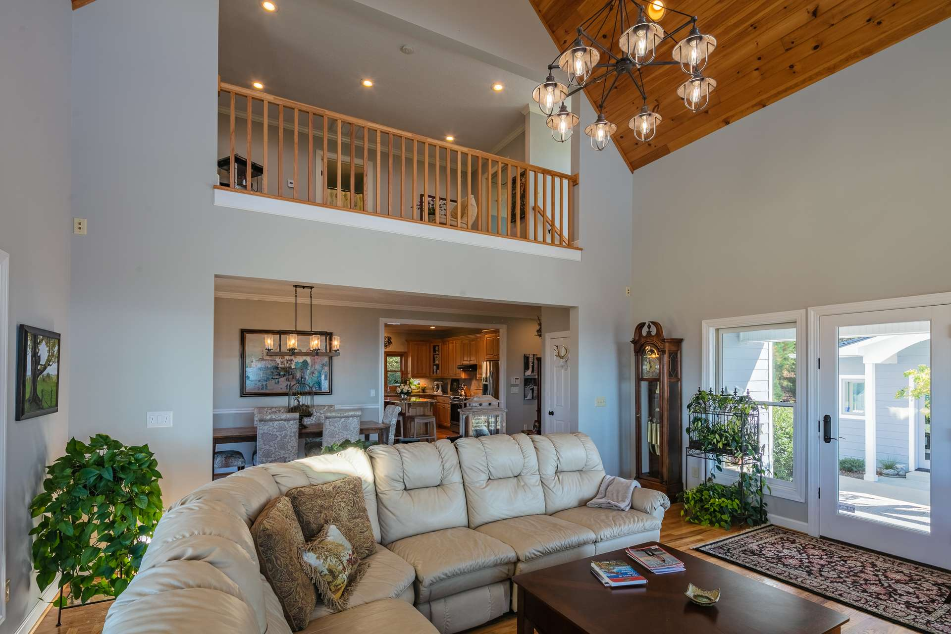 An open floor plan includes the living area and dining area that is open to the kitchen.
