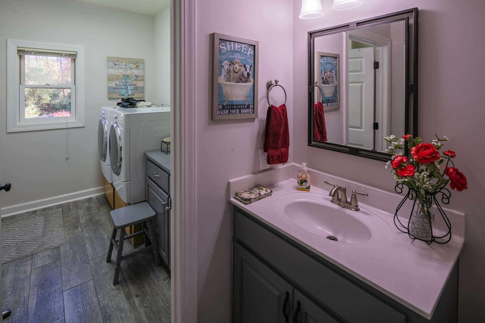 The laundry room with full bath completes the main level.