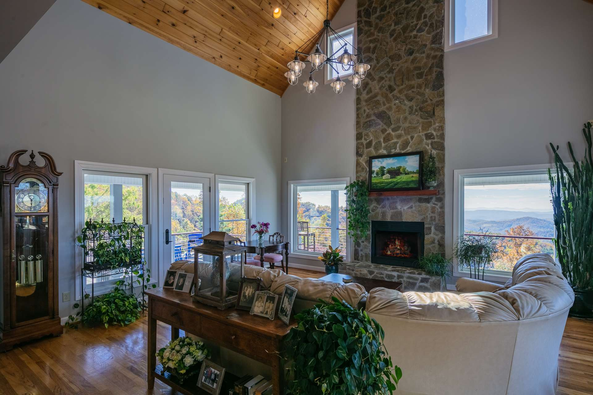 Relax in front of a warm fire while gazing at the views from inside.  Enjoy sunrises, sunsets, and Natures everchanging canvas  during all four seasons in the NC Mountains.