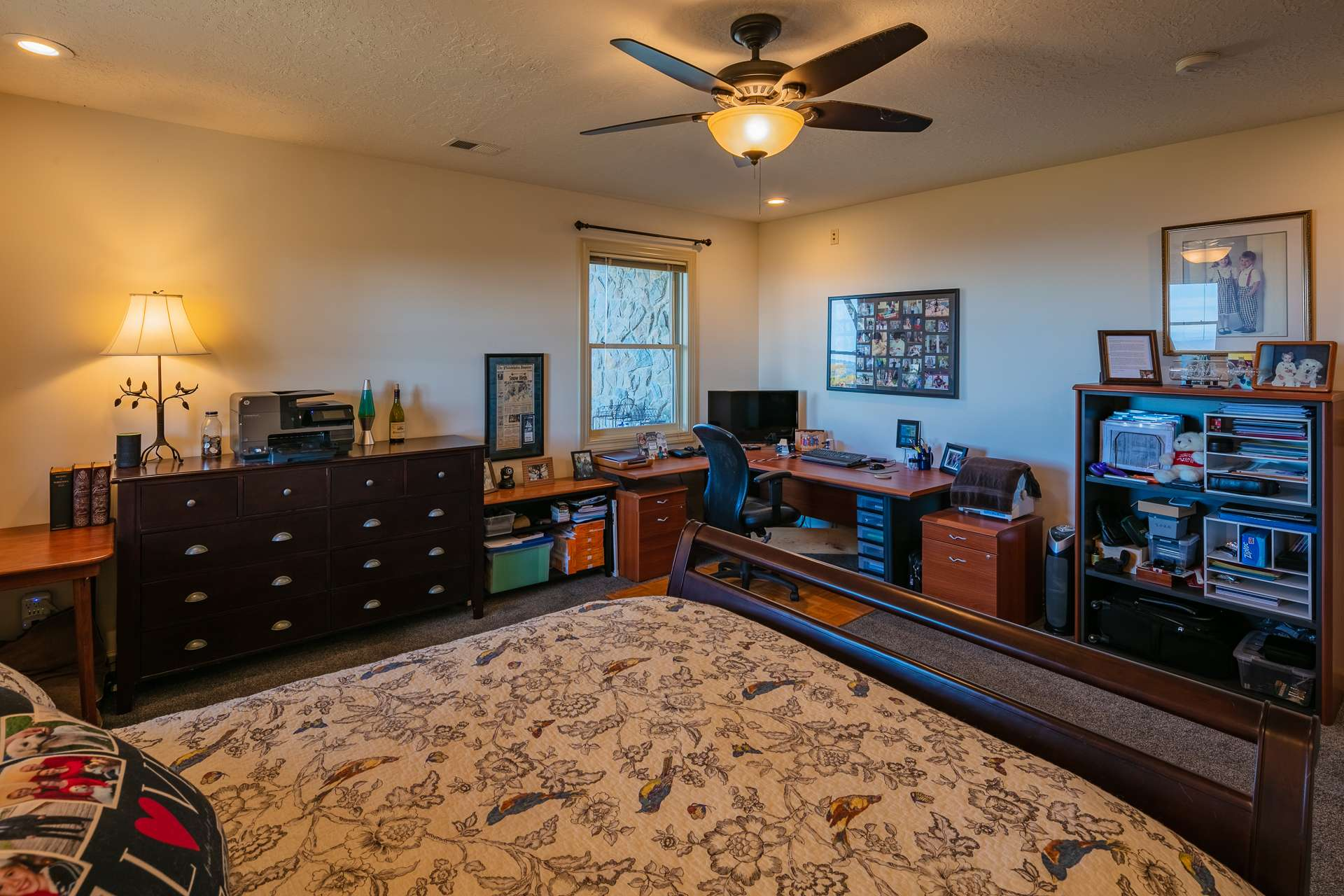 This space includes a large bedroom with room for office space, and a private bath.