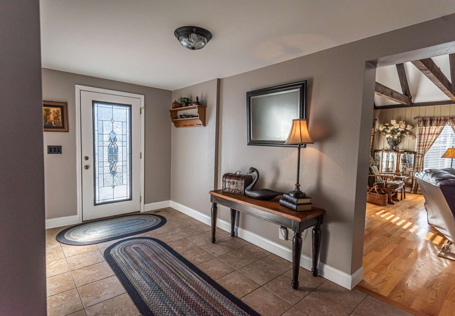 A foyer welcomes you inside to enjoy comfortable mountain living along with a totally renovated floor plan.